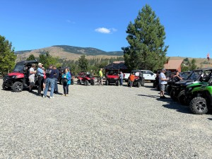 Pre-ride safety briefing at Tugboat Restaurant's parking lot in Curlew