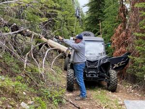 Mike Hopkins clearing trail