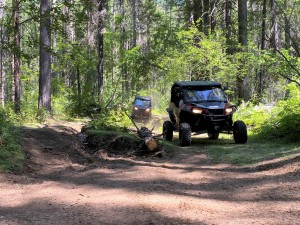 Huckleberry's trail is mostly tight, but widens out as it approaches the Barnaby Creek area.