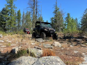 Chris Montgomery in his new Polaris General enjoying the rocky trail!