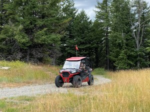 Entering the old USAF Radar Dome site near Bamber Mountain - this route requires a USFS permit.