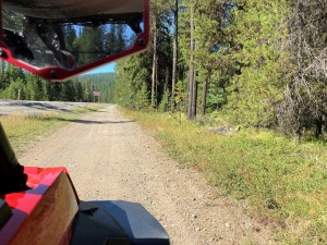 """""""Social"""" trail alongside Hwy 20 links the parking area to DNR roads open to OHVs, such as Radar Dome route & Flodelle and Sherry Creek routes."""
